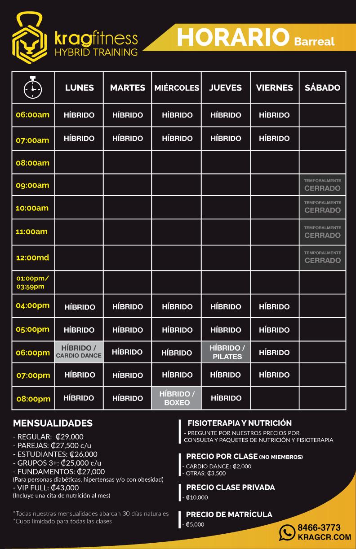 nuevo horario KRAG temporal Barreal