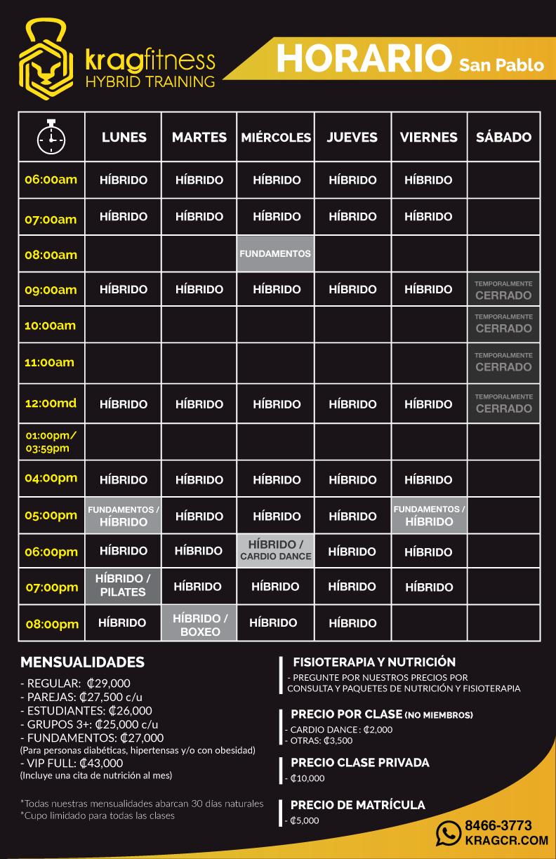 nuevo horario KRAG temporal San Pablo
